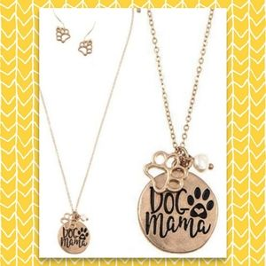 Dog MOM Jewelry Set Necklace & Earrings Puppy Love